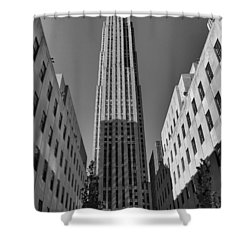 Ge Building In Black And White Shower Curtain by Dan Sproul