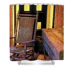 Rocking Chair And Woodbox Shower Curtain by Rodney Lee Williams