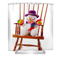 Shower Curtain featuring the photograph Happy Snowman Sitting In A Rocking Chair  by Vizual Studio