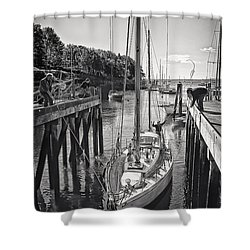 Rockport Harbor Shower Curtain by Priscilla Burgers