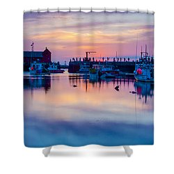 Shower Curtain featuring the photograph Rockport Harbor Sunrise Over Motif #1 by Jeff Folger