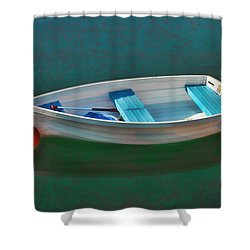 Rockport Row Boat Shower Curtain by Joann Vitali