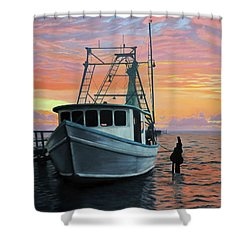 Shower Curtain featuring the painting Rockport Sunrise by Jimmie Bartlett