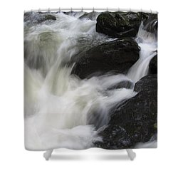 Shower Curtain featuring the photograph Rocks At Bushkill by Richard Reeve