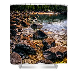Rocks At Shore Of Georgian Bay Shower Curtain by Elena Elisseeva