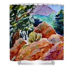 Rocks Near Red Feather Shower Curtain by Beverley Harper Tinsley