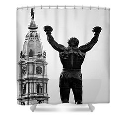 Rocky And Philadelphia Shower Curtain by Bill Cannon