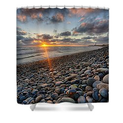 Rocky Coast Sunset Shower Curtain
