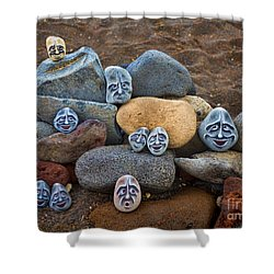 Rocky Faces In The Sand Shower Curtain by David Smith
