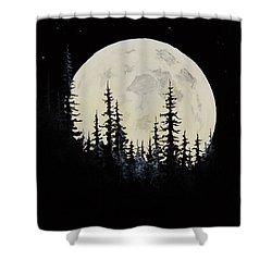 Rocky Mountain Moon Shower Curtain by C Steele