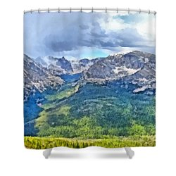 Rocky Mountain National Park Painting Shower Curtain by Dan Sproul