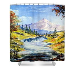 Rocky Mountain Stream Shower Curtain by Lee Piper