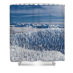 Rocky Mountain Winter Shower Curtain by Aaron Aldrich