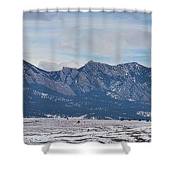 Rocky Mountains Flatirons And Longs Peak Panorama Boulder Shower Curtain by James BO  Insogna