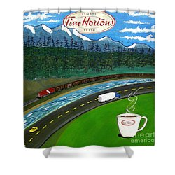 Rocky Mountains Shower Curtain by John Lyes