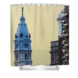 Rocky On Top Of City Hall Shower Curtain by Bill Cannon