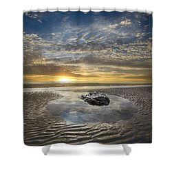 Rocky Pool At Dawn Shower Curtain by Debra and Dave Vanderlaan