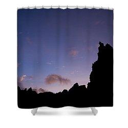 Rocky Purple Sunset Shower Curtain by Charmian Vistaunet