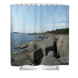 Rocky Seashore 2 In Hamina  Shower Curtain