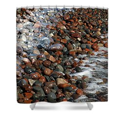 Rocky Shoreline Abstract Shower Curtain by James Peterson