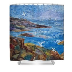 Shower Curtain featuring the painting Rocky Shores Of Maine by Ellen Levinson