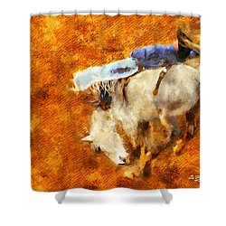 Shower Curtain featuring the painting Eight-second Ride by Greg Collins