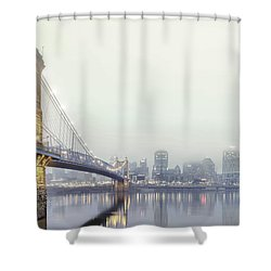 Roebling In The Fog Shower Curtain by Keith Allen