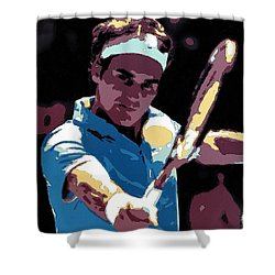 Roger Federer Portrait Art Shower Curtain by Florian Rodarte