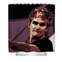 Roger Federer Poster Art Shower Curtain by Florian Rodarte