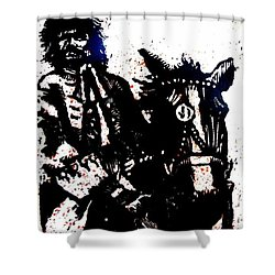 Shower Curtain featuring the relief Rogue Of The Road by Seth Weaver