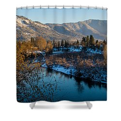 Rogue River Winter Shower Curtain by Mick Anderson
