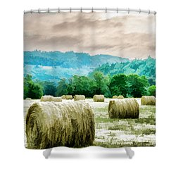 Rolled Bales Shower Curtain by Mick Anderson