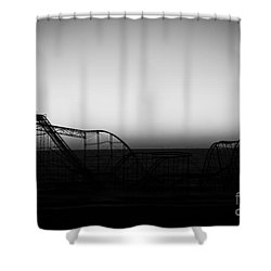 Roller Coaster Silhouette Black And White Shower Curtain by Michael Ver Sprill