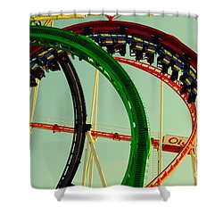 Rollercoaster Looping At The Actoberfest In Munich Shower Curtain by Sabine Jacobs