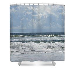 Rolling Clouds And Waves Shower Curtain