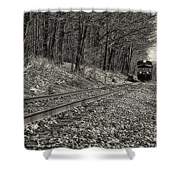 Rolling Down The Tracks Shower Curtain