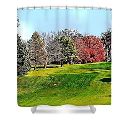 Shower Curtain featuring the photograph Rolling Green Hills And Fall Foliage by Judy Palkimas