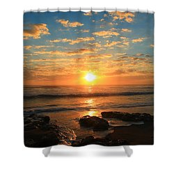 Rolling Over Rocks Shower Curtain by Catie Canetti