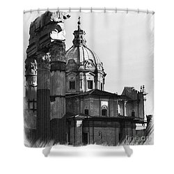 Roma Black And White Shower Curtain by Stefano Senise