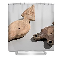 Roman Terracotta Oil Lamps Shower Curtain by Ilan Amihai