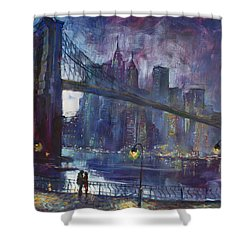 Romance By East River Nyc Shower Curtain by Ylli Haruni