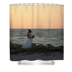 Romance In Captiva Shower Curtain by Val Oconnor