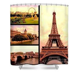 Romantic Paris Sunset Collage Shower Curtain by Carol Groenen