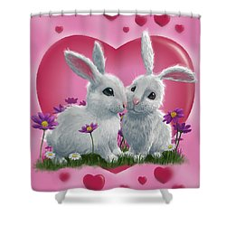 Romantic White Rabbits With Heart Shower Curtain by Martin Davey