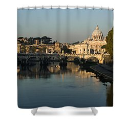 Rome - Iconic View Of Saint Peter's Basilica Reflecting In Tiber River Shower Curtain