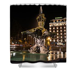 Rome's Fabulous Fountains - Bernini's Fontana Del Tritone Shower Curtain