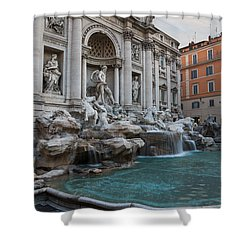 Rome's Fabulous Fountains - Trevi Fountain - No Tourists Shower Curtain by Georgia Mizuleva