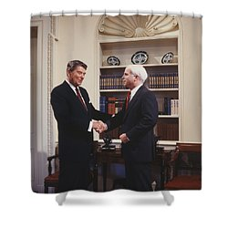 Ronald Reagan And John Mccain Shower Curtain by Carol Highsmith