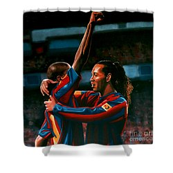 Ronaldinho And Eto'o Shower Curtain by Paul Meijering