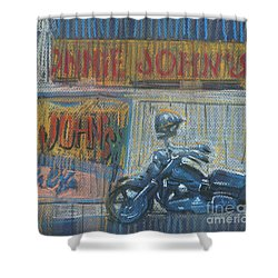 Shower Curtain featuring the painting Ronnie's Bike by Donald Maier
